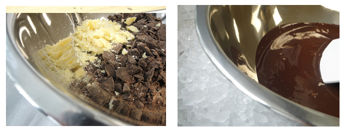 cocoa butter and chocolate and cooling the chocolate over ice