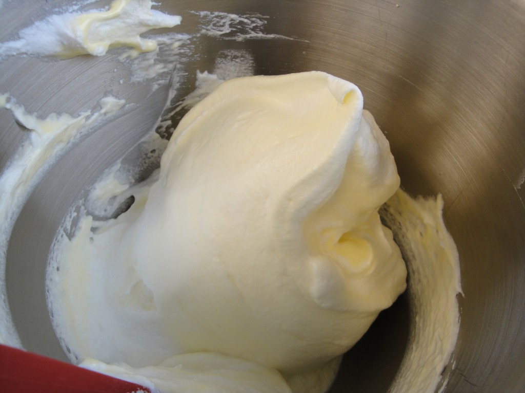 whipped egg whites - folded with whipped yolks